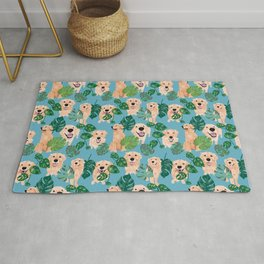 Golden Retriever Tropical  Rug