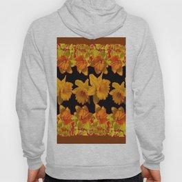GOLDEN DAFFODILS GARDEN  COFFEE BROWN-BLACK ART Hoody