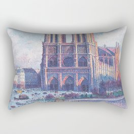 Notre Dame Cathedral, Paris, France Masterpiece by Maximilian Luce Rectangular Pillow