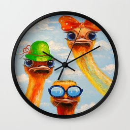 Ostriches friends Wall Clock