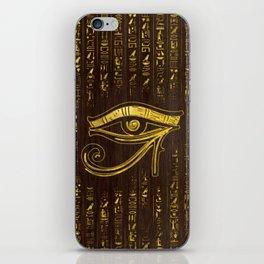 Golden Egyptian Eye of Horus  and hieroglyphics on wood iPhone Skin