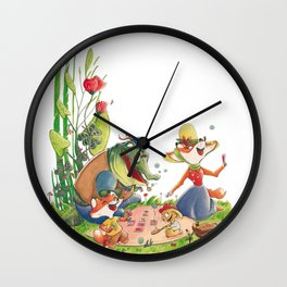 Animals in picnic Wall Clock
