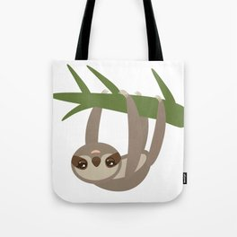 Three-toed sloth on green branch on white background Tote Bag