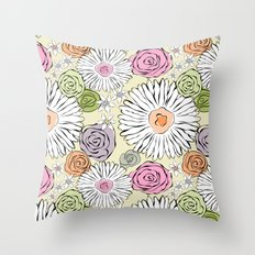 Pastel color freehand sunflowers and roses Throw Pillow