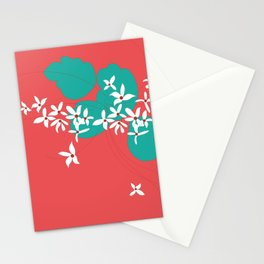 Minimalistic White Flowers On A Red Stationery Cards