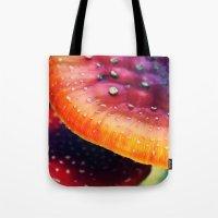 mushrooms Tote Bags featuring mushrooms by JoanaRosaC
