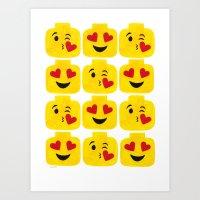 Hearts Minifigure Emoji Art Print