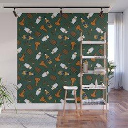 Whisky Pattern in Dark Green Wall Mural