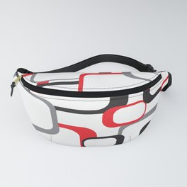 Red Black Gray Retro Square Pattern White Fanny Pack