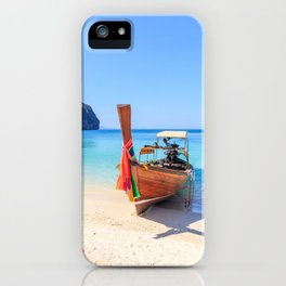 Long tail boat on white sand beach land iPhone Case