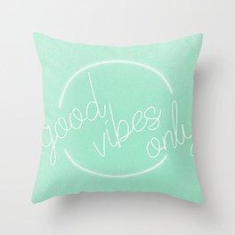 Mint Green Grass Good Vibes Minimalist Poster Spring Summer Throw Pillow