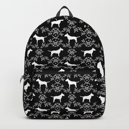 Bull Terrier floral silhouette dog breed pet friendly dog gifts bull terriers Backpack