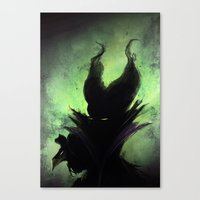 maleficent Canvas Prints featuring Maleficent by Arnaud de Vallois