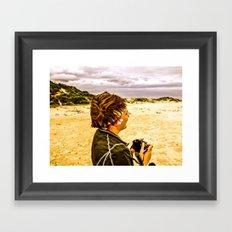 Girl and Camera Framed Art Print