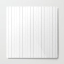 White and Grey Vertical Stripes Metal Print