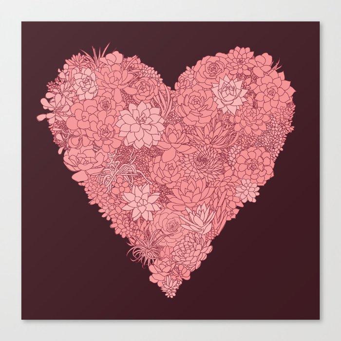 Pink Succulent Heart Canvas Print
