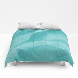 Turquoise abstract waves Comforters