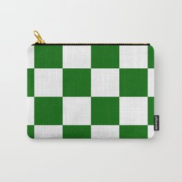 Large Checkered - White and Dark Green Carry-All Pouch