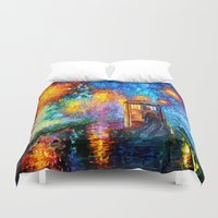fandom Duvet Covers featuring The 10th Doctor who Starry the night Art painting iPhone 4 4s 5 5c 6, pillow case, mugs and tshirt by Three Second