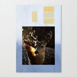 Winter Deer Collage Canvas Print