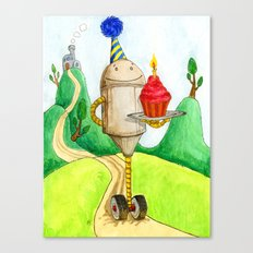 Birthday Robot 1: Cupcake Canvas Print