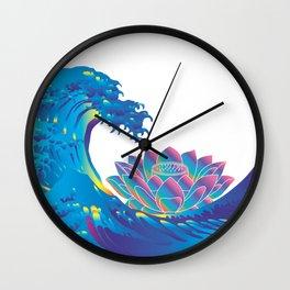 Hokusai Rainbow & Lotus Wall Clock