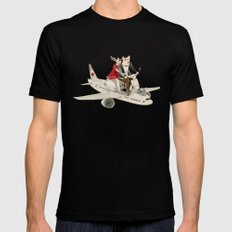 Cat and Wolf hit the road Mens Fitted Tee Black MEDIUM