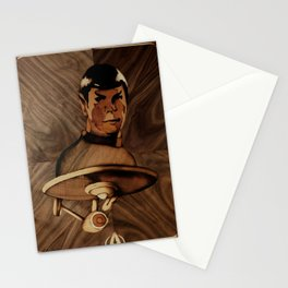 Original Leonard Nimoy (mr. Spock) on enterprise series of wood by Andulino Stationery Cards