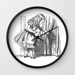 Vintage Alice in Wonderland 'looking for the door' antique book drawing emo goth fantasy gothic Wall Clock