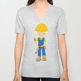 Construction Worker, Blond Hair, Boy With Hammer Unisex V-Neck