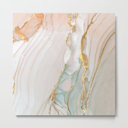 Blush Gold Alcohol Ink Abstract 1 Metal Print
