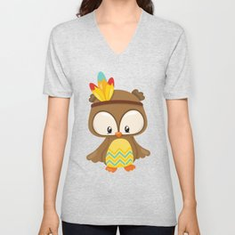 Thanksgiving Owl, Brown Owl With Head Feathers Unisex V-Neck