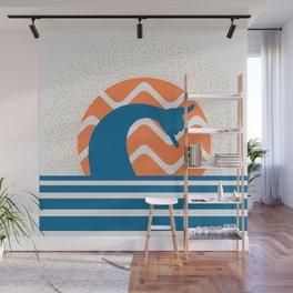Hang Loose Wave // Sun Surfer Shaka Beach Retro Graphic Design Horizontal Daze Waves Wall Mural