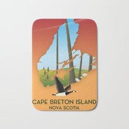 Cape Breton Island map Travel poster Bath Mat