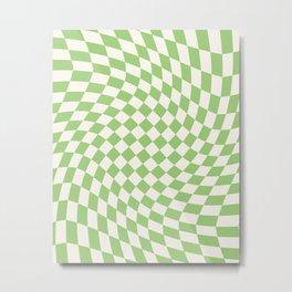 Green Checker Swirl Metal Print