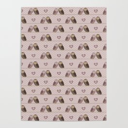 Owls in love (pink) Poster