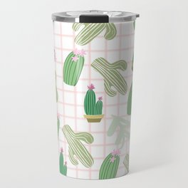 Pastel pink florest green geometrical cactus floral Travel Mug