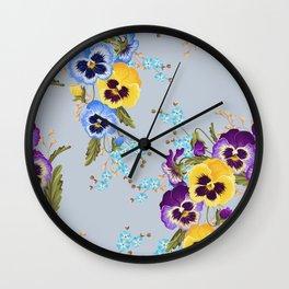 Pansies (Blue) Wall Clock