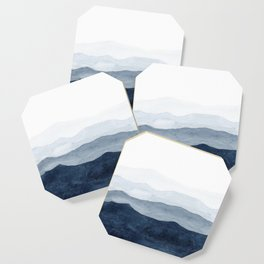 Indigo Abstract Watercolor Mountains Coaster