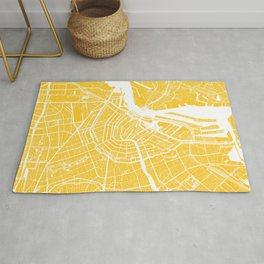 Yellow City Map of Amsterdam, Netherlands Rug
