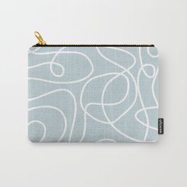 Doodle Line Art | White Lines on Silvery Blue Carry-All Pouch