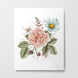 Rose and Foxglove Watercolor Florals Metal Print