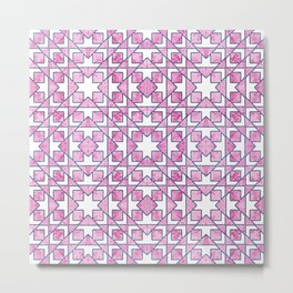 Beautiful Pink and Blue Geometric Pattern Metal Print