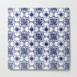 Portuguese Tiles Blue and White III Azulejos Metal Print