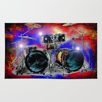 drums Area & Throw Rugs featuring Psychedelic Drums by JT Digital Art