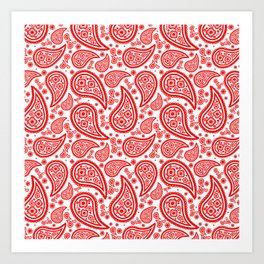 Paisley (Red & White Pattern) Art Print