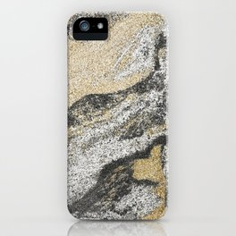 Vintage chic black gold yellow abstract marble iPhone Case
