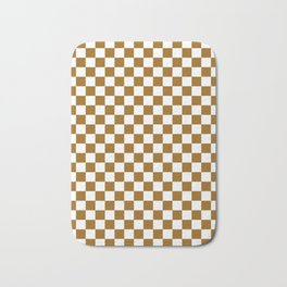 Small Checkered - White and Golden Brown Bath Mat