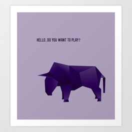 Do You Want to Play? - Origami Purple Bull Art Print