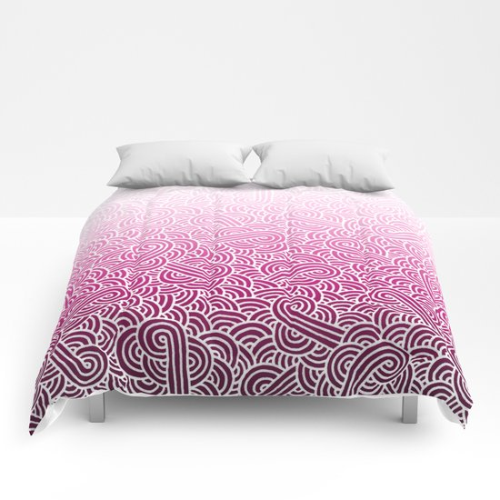 Ombre pink and white swirls doodles Comforters